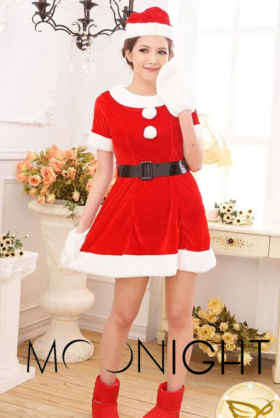 Hot Sale Christmas cotume Party Dress Women Gift Sexy Skirt Christmas costumes Hat Ladies Dress Santa Claus Costumes Free Size(China (Mainland))