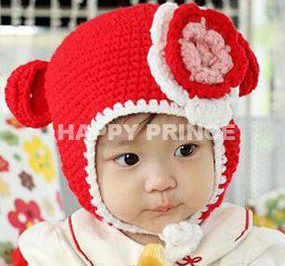 Red Crochet Bear Baby Girl Hat,Flower Kids Winter Hat,Newborn Props,Animal Warmer Baby Caps,Knitted,#3C2611-1(China (Mainland))