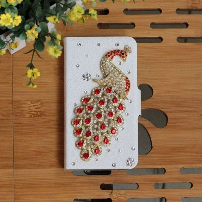 Bling DIY Red Diamond Peacock Handmade PU Leather Flip Case Cover For iPhone 3G 3GS(China (Mainland))