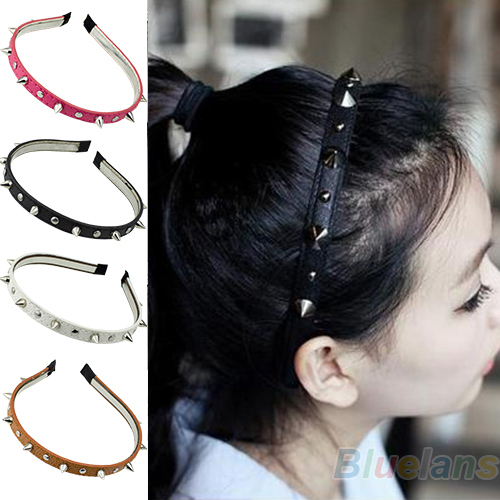 New Hot selling 2013 Fashion Headband Spike Rivets Studded Band Party Punk Hair Band Women Accessories 1N41 6OQT(China (Mainland))