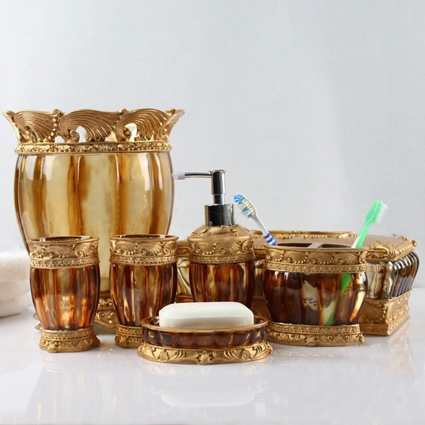 7pcs classical brown resin bathroom set , rubbish bin, tissue box,cup, toothbrush holder, soap dish, lotion bottle, wedding gift(China (Mainland))
