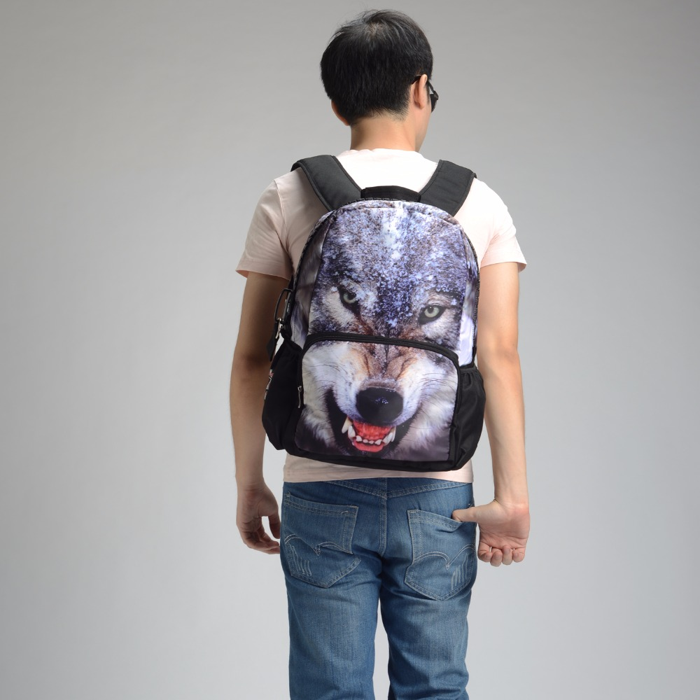 Bistar Brand The Snow Wolf Pattern Fashion Backpack Men Can Be Customized Shoulders Bag For Unisex BBP109(China (Mainland))