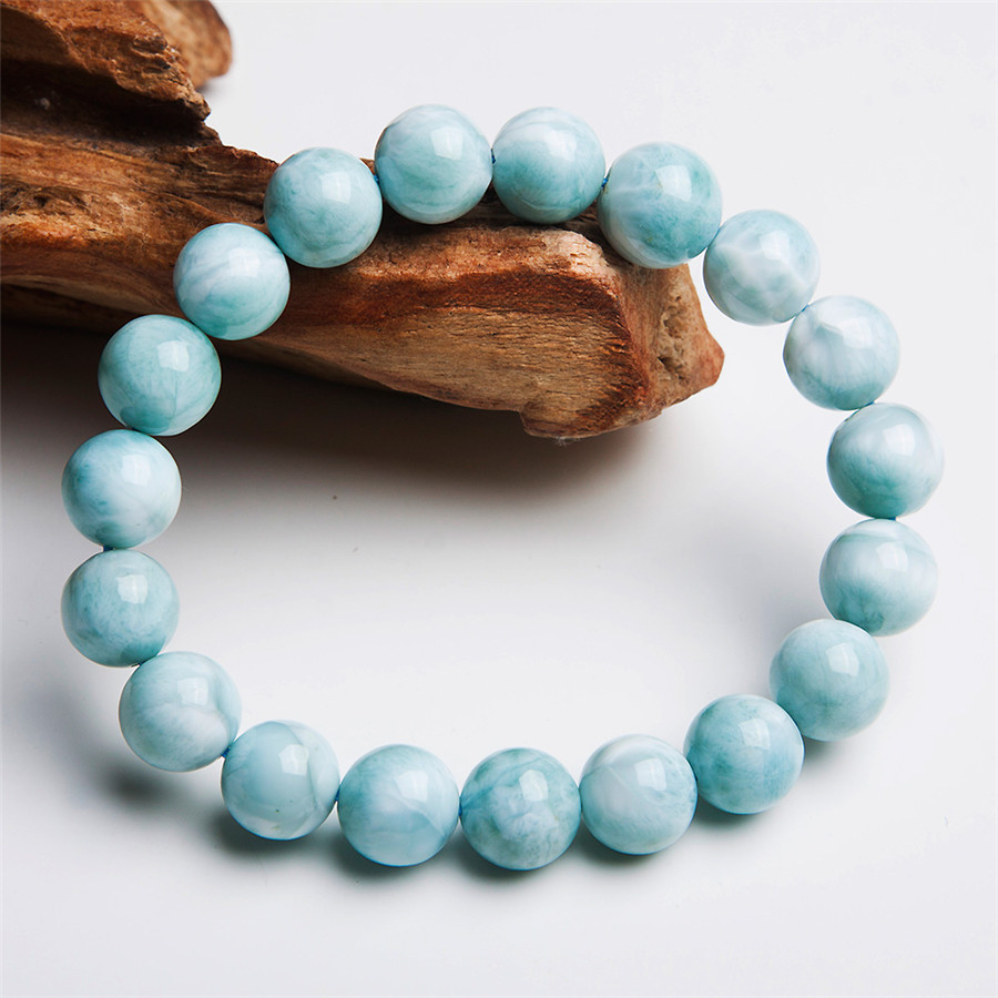 Здесь можно купить  Free Shipping Just One 10mm Genuine Blue And White Larimar Pectolite Gems Natural Stone Round Beads Fashion Charm Bracelet  Ювелирные изделия и часы