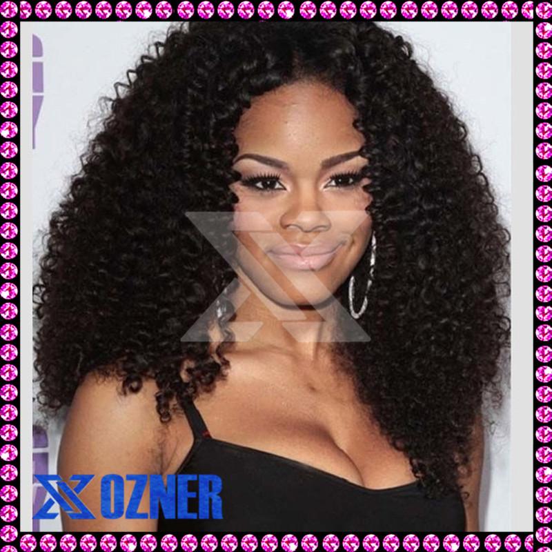 Kinky Curly Full Lace Wig Virgin Brazilian Human Hair Afro Kinky Curly ...