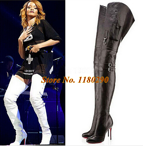 Italian Brand Women Fashion Black White Buckle Design Red Bottom Thigh Long Boots Sexy High Heel Slim Boots Winter Shoes<br><br>Aliexpress