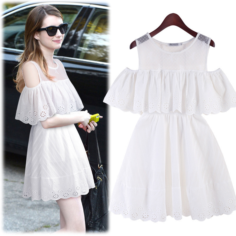 S-XL 2015 spring and summer small fresh cotton crochet embroidery strapless lace dress flouncing Women fashion dresses#CH5859(China (Mainland))