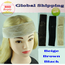 Free shipping Flexible Velvet Wig Grip Scarf Comfort Head Band Adjustable Fastern Wig Beige Brown Black(China (Mainland))