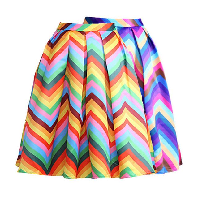 Новые 2016 весна лето женщин юбка радуги полосатый миди юбка мода весной женщина ...