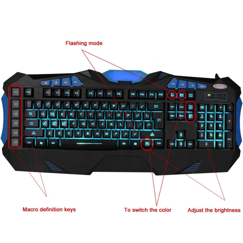 Colorful LED Backlit Gaming 118 Standard Keys Multimedia Ergonomic Gaming Keyboard for Professional Gamers