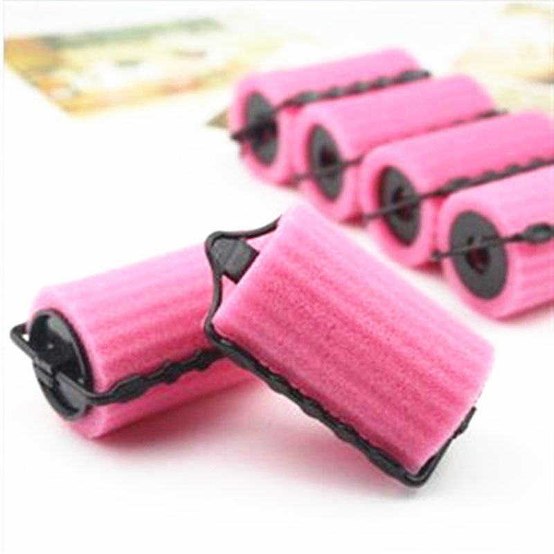 12PCS Hair Curler Hair Care Styling Tools Wave Hair Rollers Magic Pink Sponge Soft Curling Iron Roller Soft Foam Curler(China (Mainland))