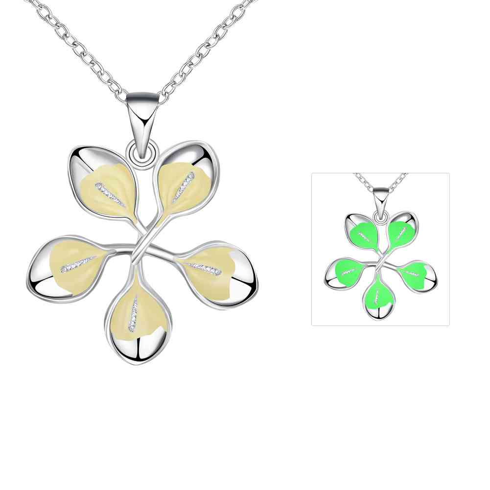 Free Shipping Wholesale 2016 new Glowing Necklace necklace Flowers and leaves perfume women charm LUYN030(China (Mainland))