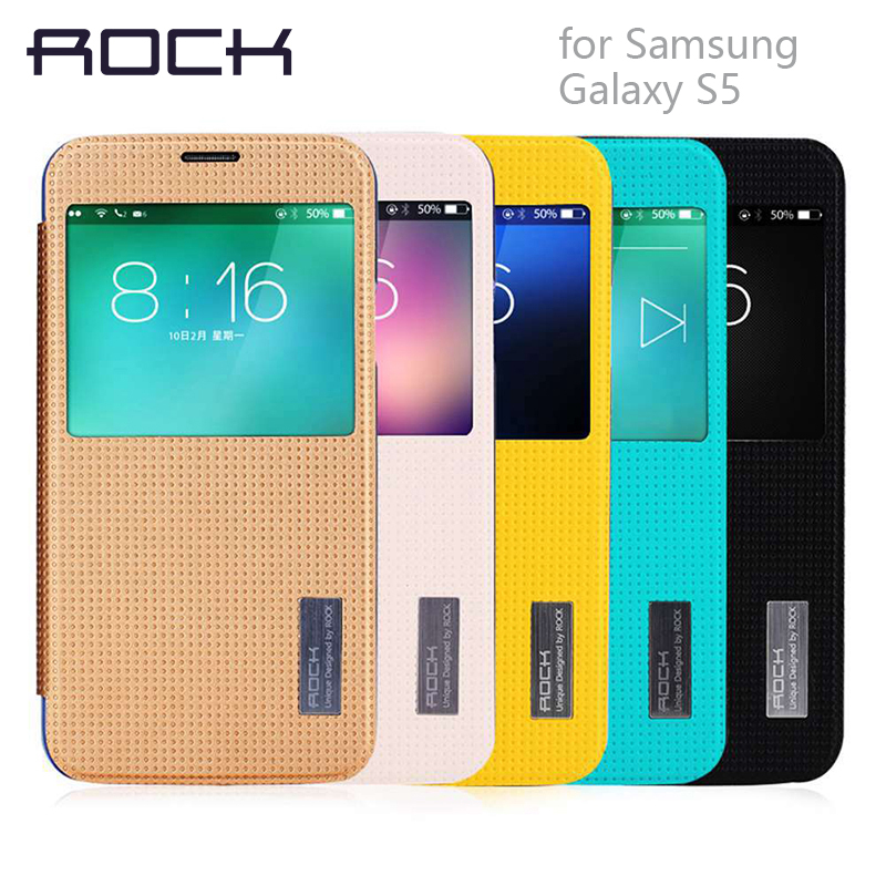 ROCK Original Grace series Leather Case For Samsung Galaxy S5 cover Slim Smart View Shell Auto Sleep Wake Bag Shell cover for S5(China (Mainland))