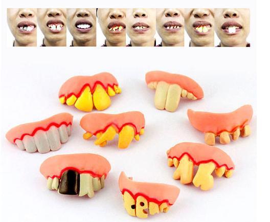 Hot-selling2 sets (1 set = 8) Funny Goofy Fake Rotten Teeth Halloween Party Favor Creepy Dentures(China (Mainland))
