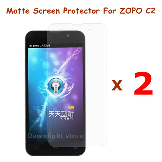 New 2 Pcs/lot of Matte Anti-Scratch Screen Protector Film For ZOPO C2 Android Smart Cell Phone , free shipping