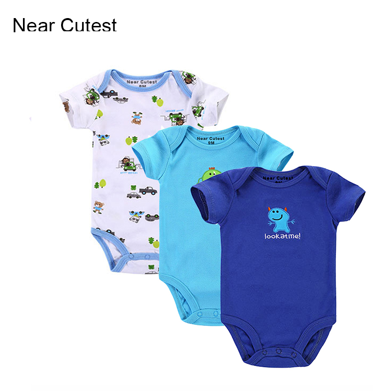 Near Cutest 3pcs/lot Baby Romper Short Sleeve Cotton Similar Baby Boy Girl Clothes Baby Wear Jumpsuits Clothing Set Body Suits(China (Mainland))