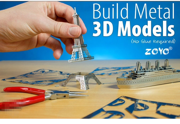 Free Shipping 3D Metal Model Puzzle Toy Hobby Building Kits Puzzle Solid Puzzle 1:N Scale Model Building Ship Airplane Car Gifts(China (Mainland))