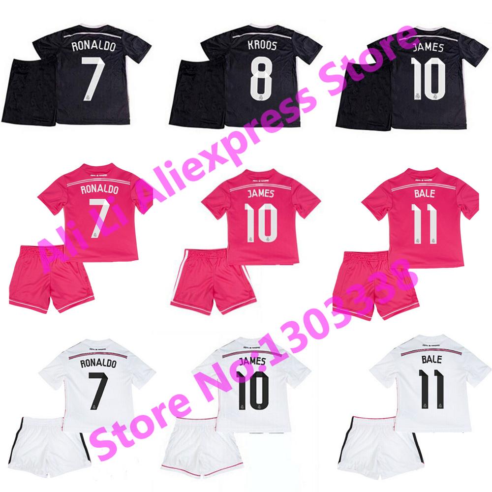 2015 Real Madrid Kids Jersey 14 15 Black Dragon Pink White Children Soccer Kits KROOS RONALDO BALE JAMES Real Madrid Kid Shirts(China (Mainland))
