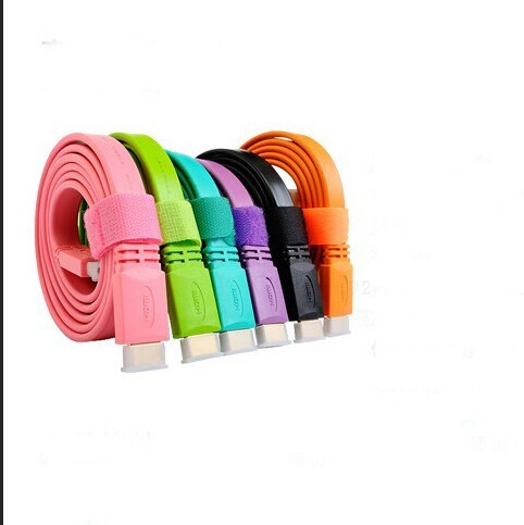 5 ft 1.5m flat  HD 1080P v1.4 HDMI Cable HDTV For Xbox PS3 HDTV Blu-ray 3D Balck  Purple Green  Orange,Pink