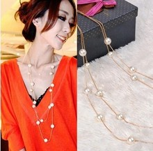NU0015 Free Shipping!Wholesale Jewelry Korean fashion Temperament Double layer pearl women's elegant chain long necklace A440