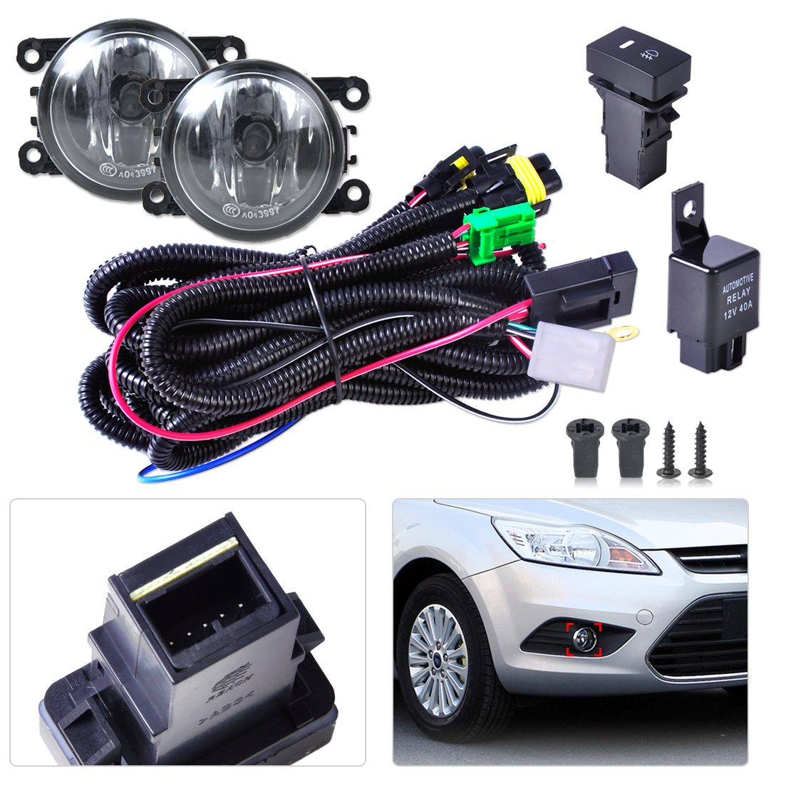 black new wiring harness sockets switch 2 fog lights h11 l 12v 55w kit for ford mustang