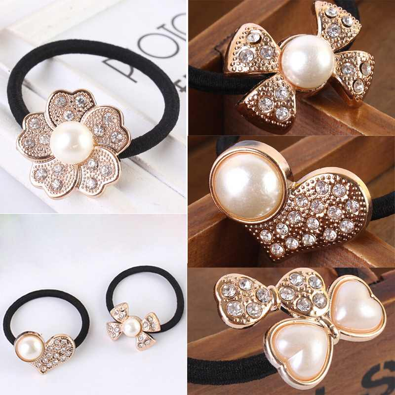 Free Shipping Fashion Flower Pearl Bow Rubber Band Hairband Elastic Ties Headwear Hair Rope New(China (Mainland))