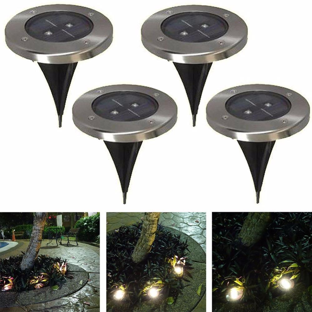 10pcs/lot Outdoor Solar Powered 2 LED Underground Waterproof Bulbs Light Buried Lamp Path Way Garden Under Ground Decking Yard<br><br>Aliexpress