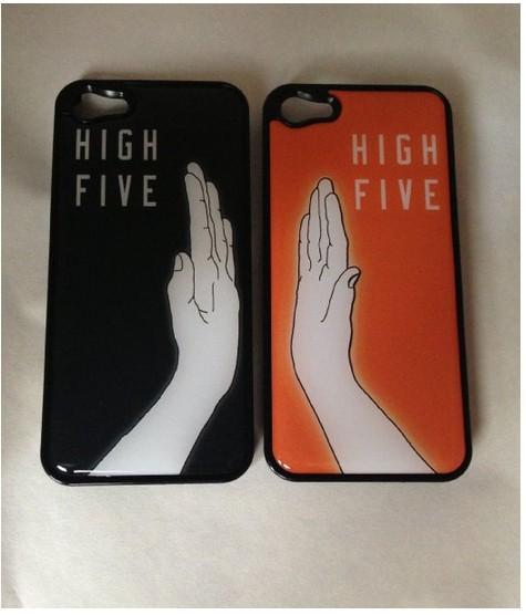 High Five Matching for iPhone 4 4S BLACK Plastic Case Hi5 BFF Bestfriend Boyfriend Girlfriend(China (Mainland))
