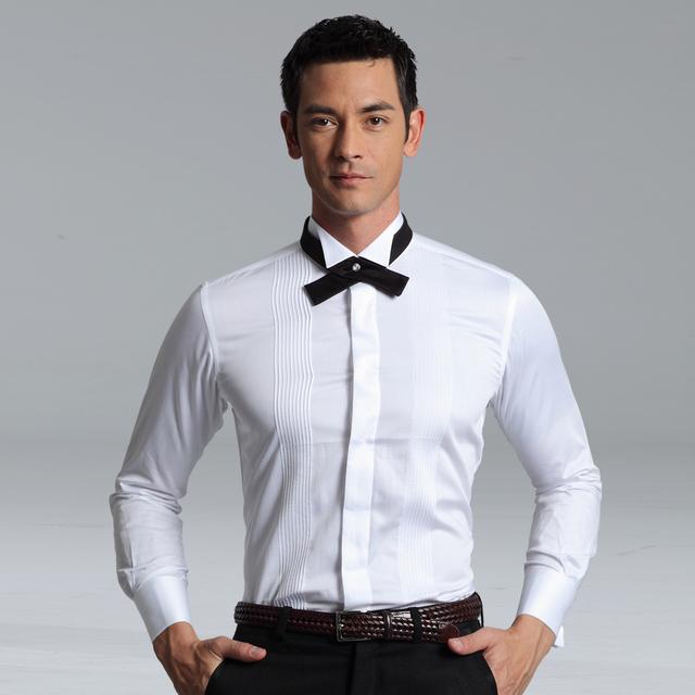 Men 39 s white tuxedo shirt french cufflinks banquet white for Cufflinks on regular dress shirt