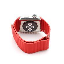 De lujo del cuero genuino rojo tipo de bucle de correa de reloj de correa con ajustable hebilla magnética para Apple reloj 42 mm para iwatch #DQ yw