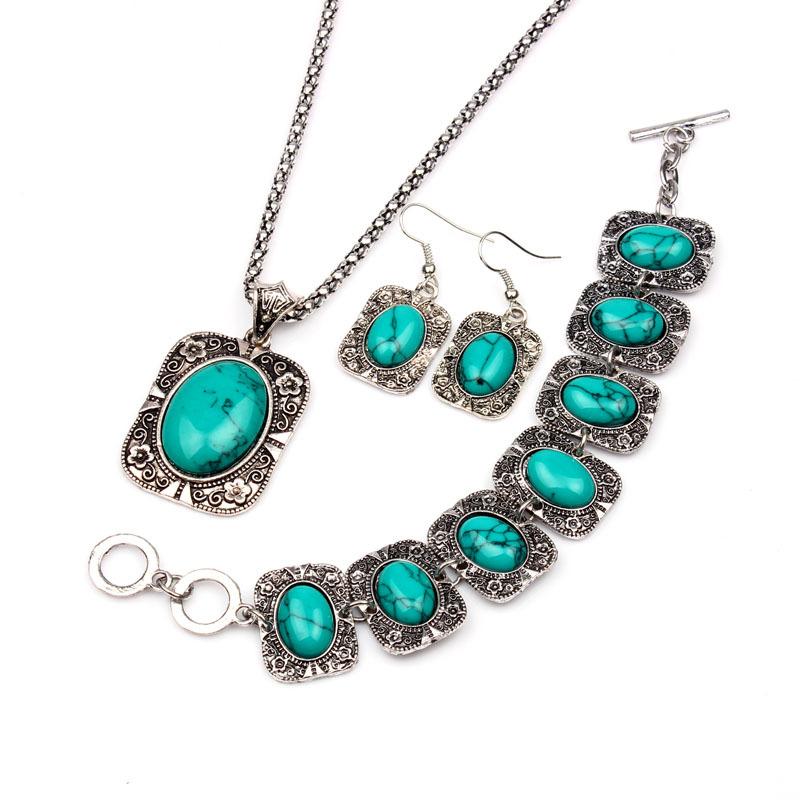 3pcs set Natural Turquoise Oval Stone Jewelry Sets Women ...