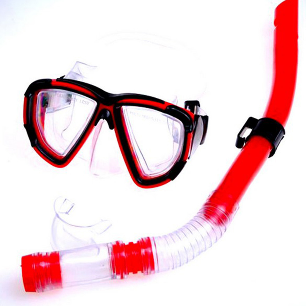 Swimming Gear Dive Scuba Anti-fog Goggles Protective Mask Glasses Diving Equipment Semi Dry Snorkel Set, Red/Yellow(China (Mainland))