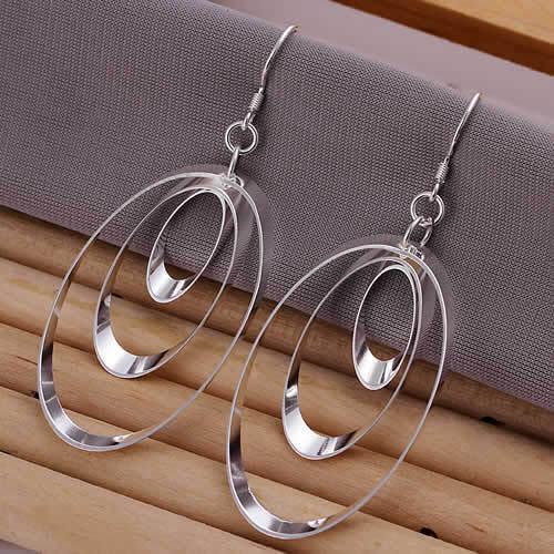 E180 Lose money Promotion! Wholesale 925 silver earrings, 925 silver fashion jewelry, Triple Round Plate Earrings<br><br>Aliexpress