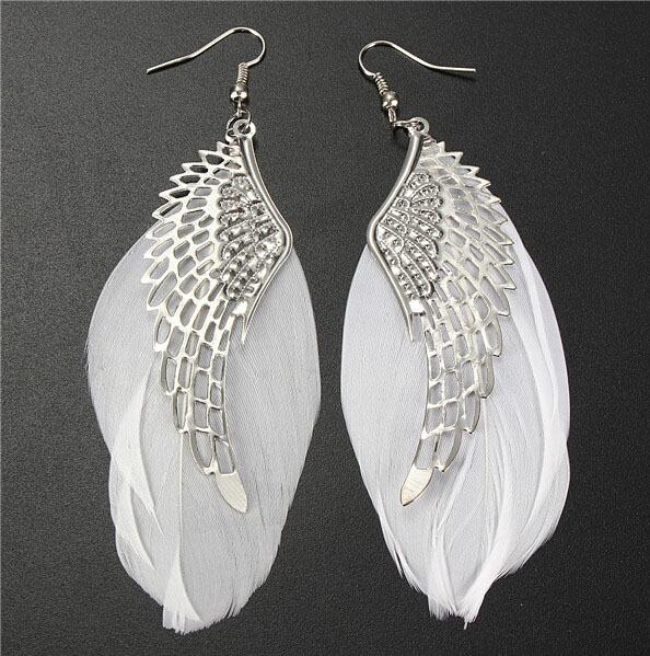 2015 Hot Selling Alloy Angel Wing Feather Dangle Earring Fashion Jewelry Chandelier Drop Long Earrings for