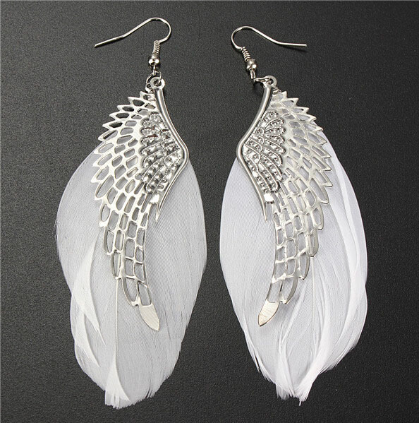 2015 Hot Selling Alloy Angel Wing Feather Dangle Earring Fashion Jewelry Chandelier Drop Long Earrings for Women Gilrs(China (Mainland))
