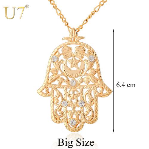 U7 Hamsa Hand Pendant Women/Men Lucky Jewelry Gift Trendy 18K Real Gold Plated Rhinestone Hand of Fatima Pendant Necklaces P313(China (Mainland))