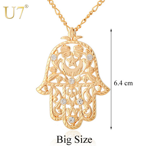 Big Size Fashion Hamsa Hand Pendant For Women Or Men 18K Gold Plated Crystal Kabbalah Judaica Necklaces &amp; Pendants Jewelry P313<br><br>Aliexpress