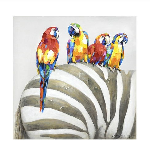 Animal Wall Art Elephant Zebra Abstract Parrot Hand Painted Oil Painting On Canvas Printing Home Decor Picture For Living room(China (Mainland))