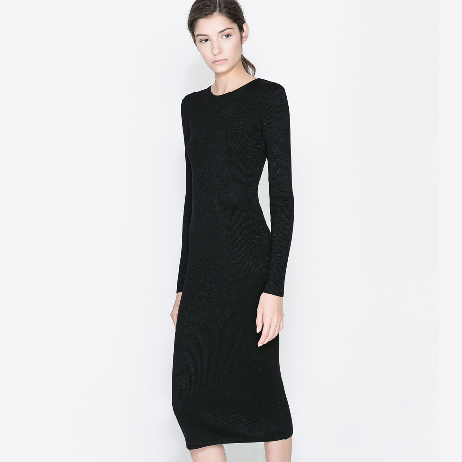 New Arrival 2015 Autumn And Winter Black Knitted Rib Knitting Long Sleeve Length Slim One-piece Dress(China (Mainland))
