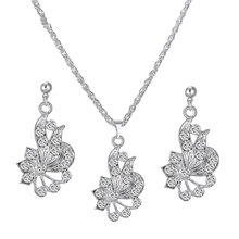 Fashion Silver Plated Flower Pendant Rhinestone Necklace Drop Earrings Female Party Jewelry Sets Friendship Gift 650060(China (Mainland))