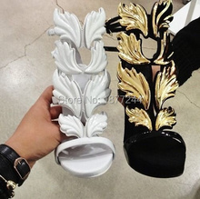 Amazing Lady Angel Wings Black Nude Thin High Heels Sandals Gladiator Rome Wedge Women Golden Leaf Leather Pumps Shoes Discount(China (Mainland))