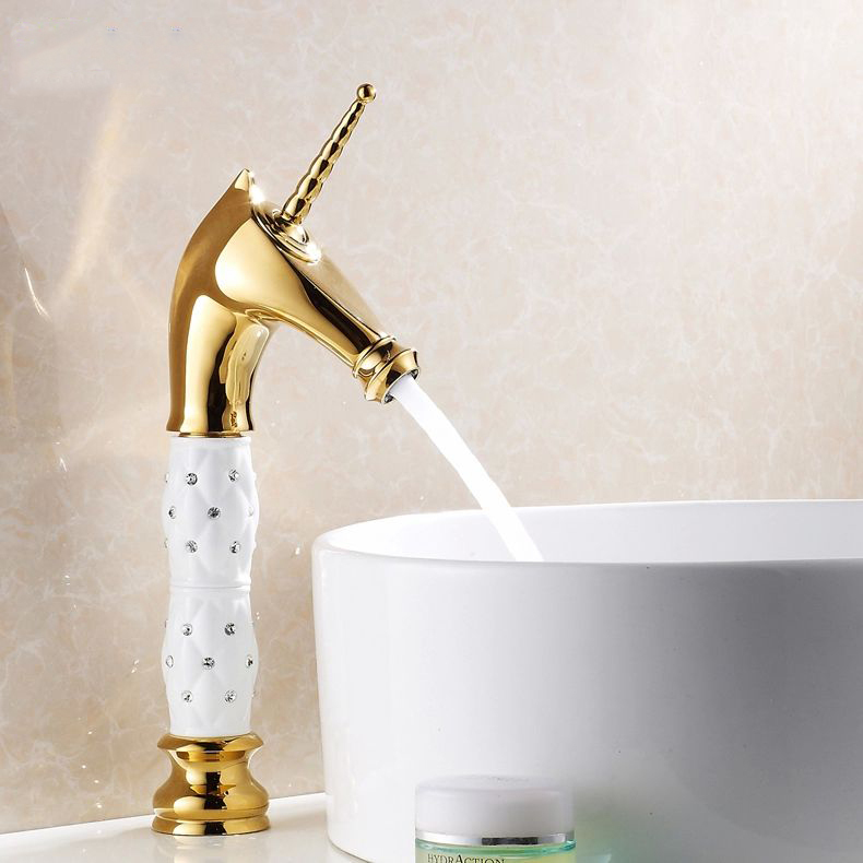 Здесь можно купить  Free Shipping 2014 New Fashion Horse head Solid Brass with ceramic and Diamond body Bathroom Faucet Single Handle HJ-819K  Дом и Сад