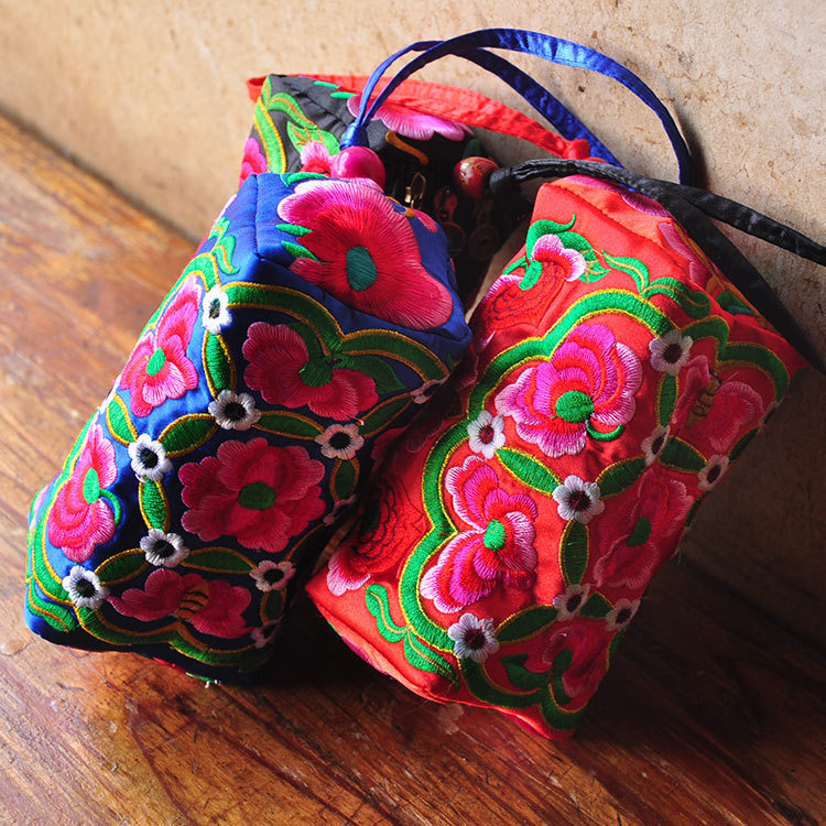 Embroidered bag embroidered ethnic gift custom processing wholesale three rows of zipper bag purse phone package Large(China (Mainland))