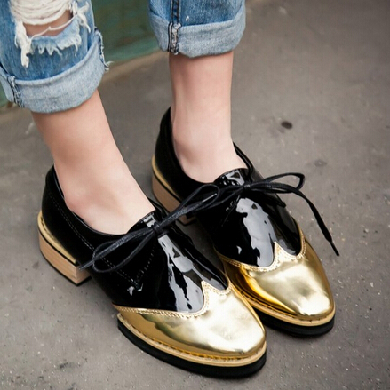 Fashion 2015 Bullock Lace Up Color Block Decoration Brogue Oxford Creepers Shoes For Women Plus Size34-43 Student Casual Shoes(China (Mainland))