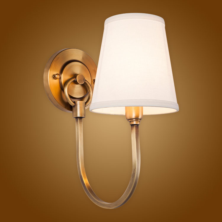 Modern Wall Lamp Full Copper Wall Sconces Fabric Lampshade Bathroom Mirror Light Home Lighitng Luminaire BLW032(China (Mainland))