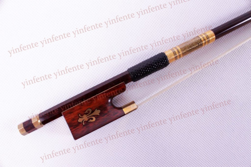 New 4/4 Violin Bow get quality SnakeWood Bow string Golden Color Flower inlaid Pattern<br><br>Aliexpress