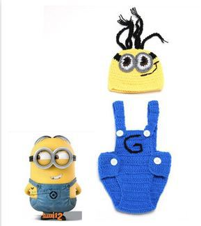 2015 New Despicable Me Minion knitted hat and diaper cover set lovely newborn baby photography props(China (Mainland))
