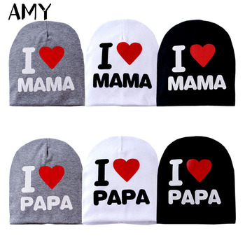 2016 Fashion Autumn Baby Hat Knitted Warm Cotton Toddler Beanie Baby Cap Kids Girl Boy I Love Papa Mama Print Kid Hats H002