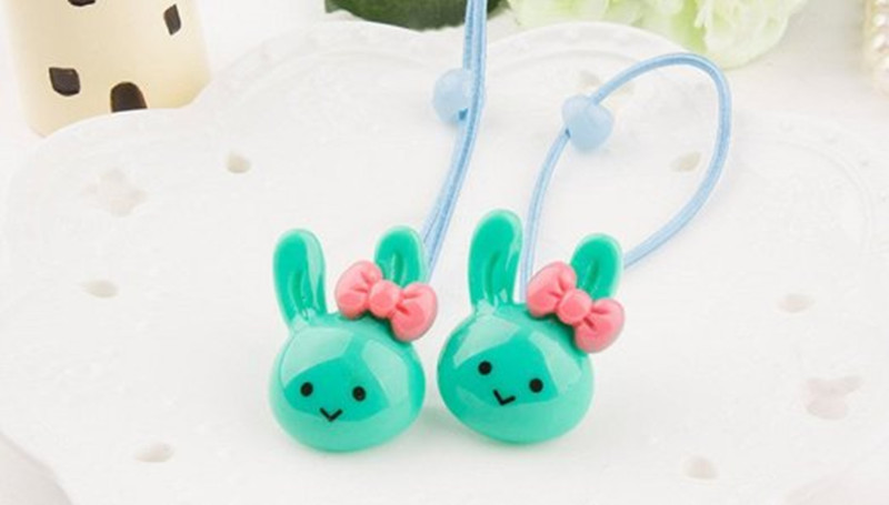 Cuhair 2pcs Hair Accesorries Rabbit Head with Bowknot Hair Rope Hair Band Accessories Rubber Band Elastic Hair Rope(China (Mainland))
