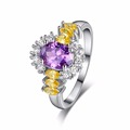 Luxury Jewelry Silver Color Flower Ring with Gift Box AAA Multi color Austrian Crystal Fashion Wedding