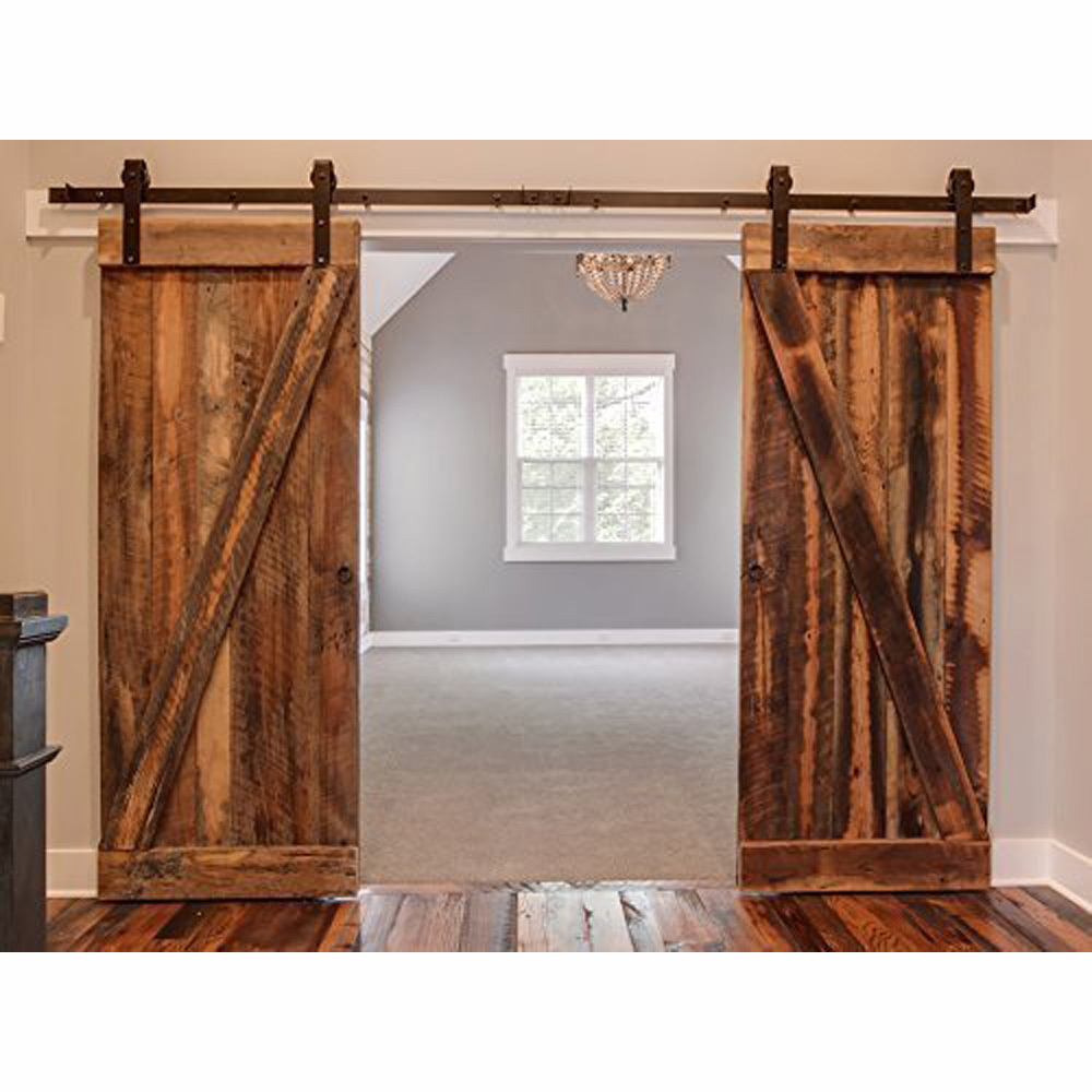 Black country barn wood steel sliding double door hardware for Sliding double doors